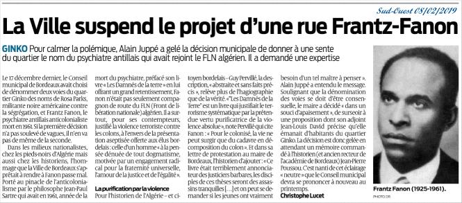 Alain Juppé expulse Frantz Fanon, source Marianne du 15 au 21 février 2019, version PDF