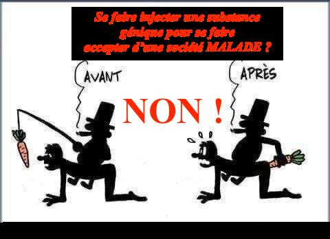 REFUSONS L'INJECTION TRANSGÉNIQUE (OGM) MORTIFÈRE : OBJECTIF DE LA DICTATURE SANITAIRE EN MARCHE !